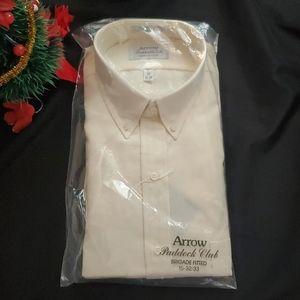 NEW  Arrow Mens Ivory Dress Shirt Long Sleeve
